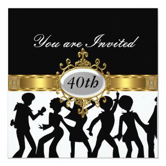 Disco-schwarze Geburtstags-Party-Glamour-Einladung Quadratische 13,3 Cm Einladungskarte