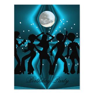 Disco-Tanz-blaues Geburtstags-Party 10,8 X 14 Cm Einladungskarte