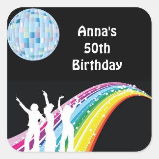 Disco-Tanz-Geburtstags-Gastgeschenk-Aufkleber Quadratischer Aufkleber