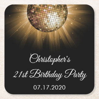 Disco-Tanz-Geburtstags-Party-Goldschein Rechteckiger Pappuntersetzer