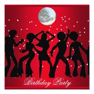 Discosiebziger jahre Geburtstags-Party Quadratische 13,3 Cm Einladungskarte