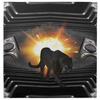Diskjockey schwarzer Panther Vereindisco Stoffserviette
