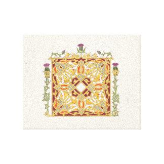 Distel-und Kronen-keltischer Knoten-goldene Leinwanddruck