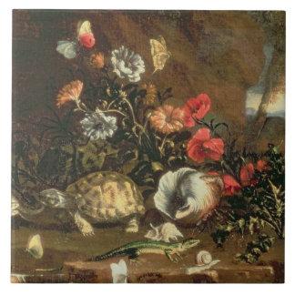 Disteln, Blumen, Reptilien und Schmetterlinge dazu Fliese