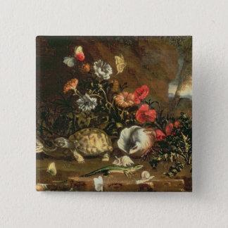 Disteln, Blumen, Reptilien und Schmetterlinge dazu Quadratischer Button 5,1 Cm