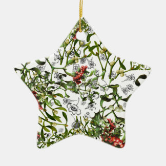 Ditsy Mistelzweig Keramik Stern-Ornament