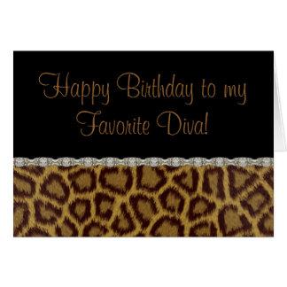 Diva-Geburtstags-Leopard-Geburtstags-Karte Karte
