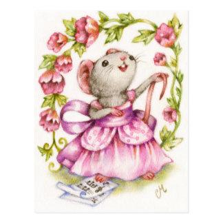 Diva - niedliche musikalische Mäusekunst-Postkarte Postkarte