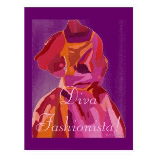Divafashionista-Herbst-Rottöne Postkarte