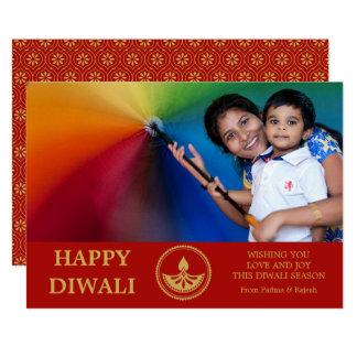 Diwali Foto-Gruß-Karte - kundenspezifische Farbe Karte