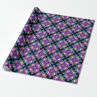 Diwali Giftwrap Rosa, Blau, schwarzes Rangoli Geschenkpapier