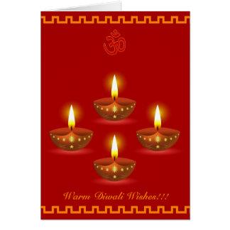 Diwali Grüße mit dekorativen glühenden Lampen Karte