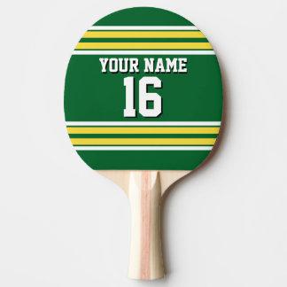 DIY BG grüner gelber kundenspezifischer Zahl-Name Tischtennis Schläger