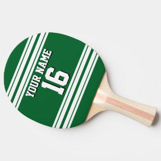 DIY BG grüner weißer kundenspezifischer Zahl-Name Tischtennis Schläger