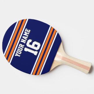 DIY BG kundenspezifischer Zahl-Name Marine-orange Tischtennis Schläger