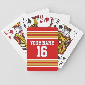 DIY BG rote Goldteam-Jersey-Gewohnheits-Zahl Spielkarten
