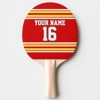 DIY BG roter gelber kundenspezifischer Zahl-Name Tischtennis Schläger