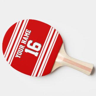 DIY BG roter weißer kundenspezifischer Zahl-Name Tischtennis Schläger
