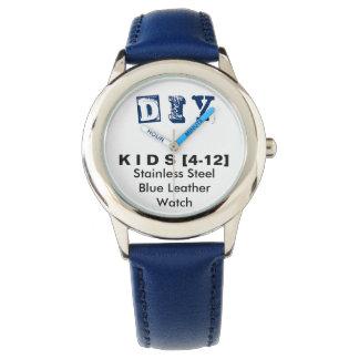 DIY - Der Edelstahl-Blau-Leder-Uhr des Kindes Uhr