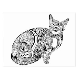 DIY Farbin der hand gezeichnete Katze Postkarte