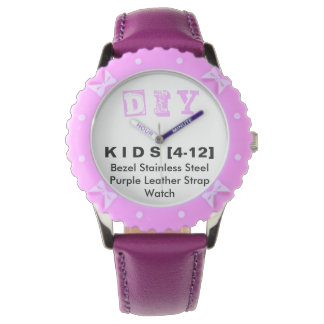 DIY - Kinderjustierbare Einfassungs-rostfreie lila Armbanduhr