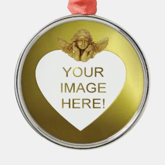 DIY KUNDENSPEZIFISCHER FOTO-GOLDherz-ENGEL Silbernes Ornament