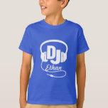 DJ Ihr Namenweiß auf Blau scherzt T - Shirt
