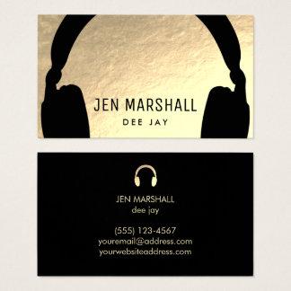 DJ-Kopfhörer auf Imitatgoldfolie Visitenkarte