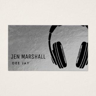 DJ-Kopfhörer auf Imitatsilber Visitenkarte