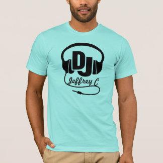 DJ-Namenskopfhörerschwarz-Grafik-T - Shirt