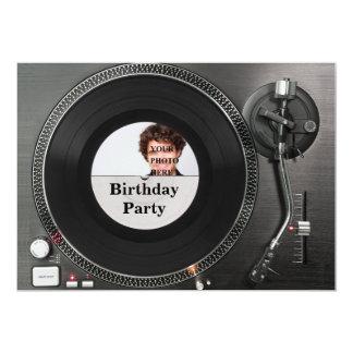 DJ-Turntable-Foto-Geburtstag Einladung