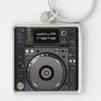 DJ-Turntable keychain Silberfarbener Quadratischer Schlüsselanhänger