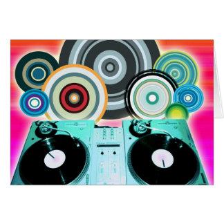 DJ-Turntable mit Vinyl - Pop-Kunst Karte