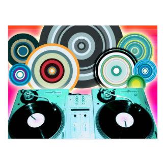 DJ-Turntable mit Vinyl - Pop-Kunst Postkarte
