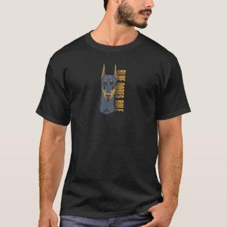 Dobermann-Kopf, blaue Dobes Regel T-Shirt