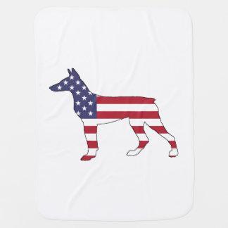 "Dobermann Pinscher ""amerikanische Flagge "" Puckdecke"