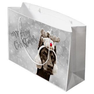 Dobermann-Weihnachtsporträt Große Geschenktüte