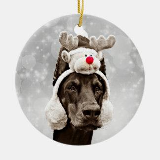 Dobermann-Weihnachtsporträt personalisiert Rundes Keramik Ornament