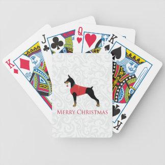 Dobermannpinscher-Hundefrohe Weihnacht-Entwurf Bicycle Spielkarten