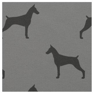 Dobermannpinscher-Silhouette-Muster Stoff