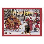 Dobermannpinscher-Weihnachtskarten-Sankt-Bären Grußkarten