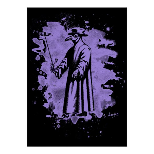 Doc beak - Plague doctor – bleached violet Poster