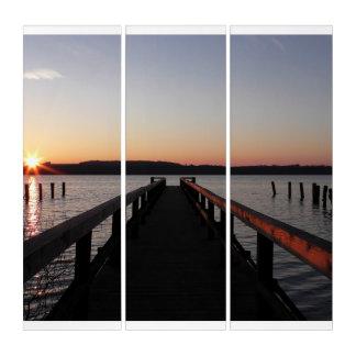 Dock durch den See-Acryldruck Triptychon