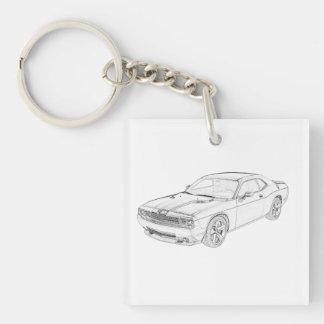 Dodge-Herausforderer Einseitiger Quadratischer Acryl Schlüsselanhänger