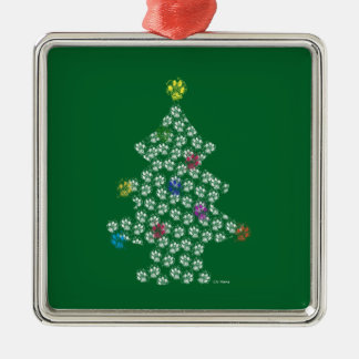 Dog Paw Christmas Tree Silbernes Ornament