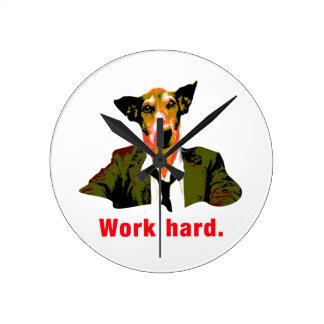 Dog worker runde wanduhr