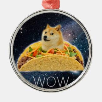 Doge Taco - Doge-shibeDoge Hund-niedlicher Doge Rundes Silberfarbenes Ornament
