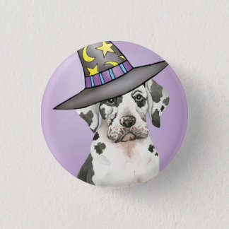 Dogge-Hexe Runder Button 2,5 Cm