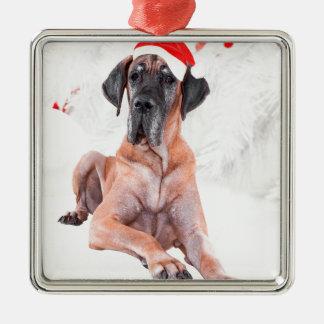 Dogge-Hundehut-frohe Weihnachten Silbernes Ornament