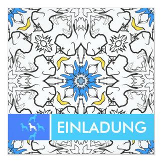 Dogge-Musterblau Quadratische 13,3 Cm Einladungskarte